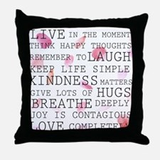 Rose Petals inspirational words Throw Pillow