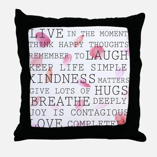 Rose Petals inspirational words Throw Pillow
