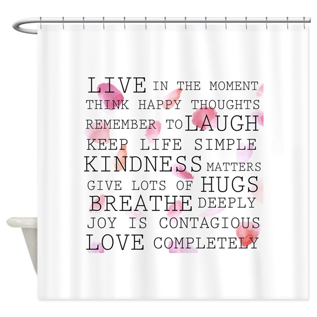 Rose Petals Inspirational Words Shower Curtain By Zenchic