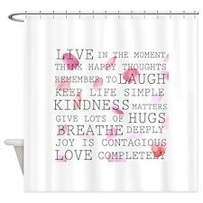 Rose Petals inspirational words Shower Curtain