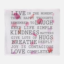Rose Petals Inspirational Words Throw Blanket