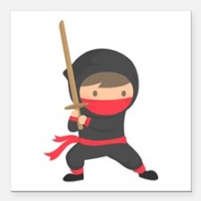 "Cute Ninja kid Square Car Magnet 3"" x 3"""