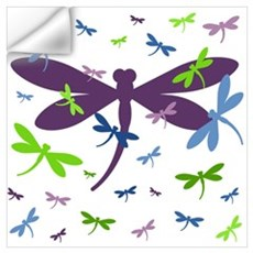 Dragonflies Pattern - Blue, Green, and Purple Wall Decal