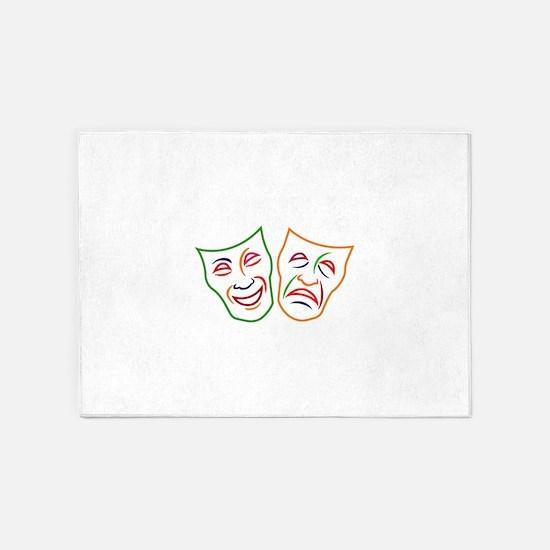 Comedy Tragedy Masks 5'x7'Area Rug