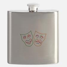 Comedy Tragedy Masks Flask