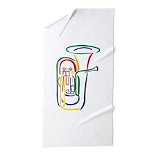Tuba Outline Beach Towel