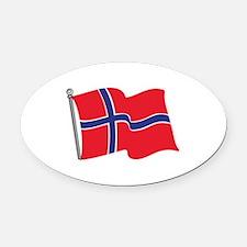 Norwegian Flag Oval Car Magnet