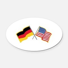 German American Flags Oval Car Magnet