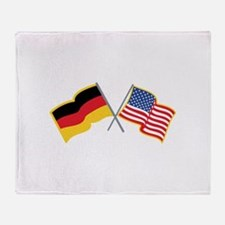 German American Flags Throw Blanket