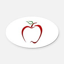 Apple Outline Oval Car Magnet