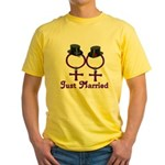 Just Married Formal Lesbian Yellow T-Shirt