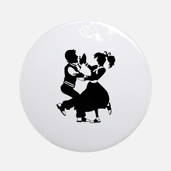 Jitterbug Silhouette Ornament (Round)