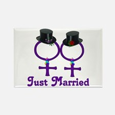 Just Married Formal Lesbian Rectangle Magnet