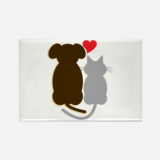 Dog Heart Cat Magnets