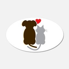 Dog Heart Cat Wall Decal