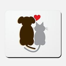 Dog Heart Cat Mousepad