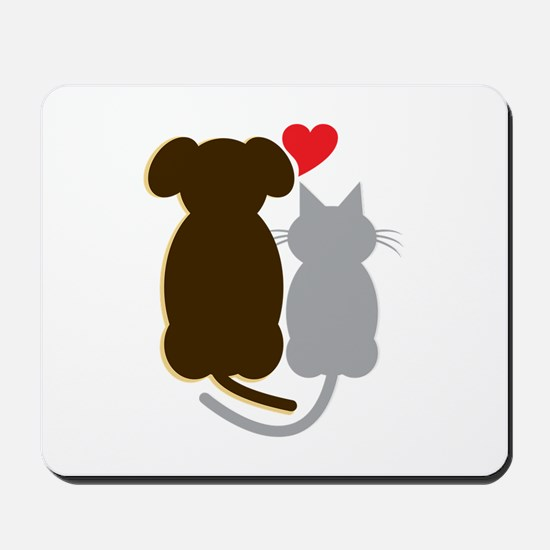 Dog Heart Cat Mousepad