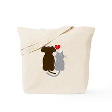 Dog Heart Cat Tote Bag