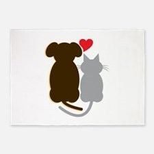 Dog Heart Cat 5'x7'Area Rug