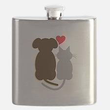 Dog Heart Cat Flask