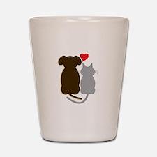 Dog Heart Cat Shot Glass