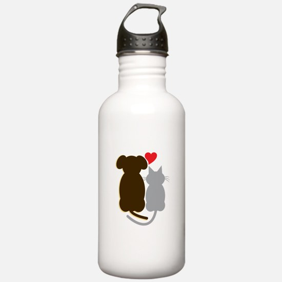 Dog Heart Cat Water Bottle