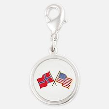 Norwegian American Flags Charms