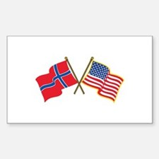 Norwegian American Flags Decal