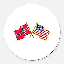 Norwegian American Flags Round Car Magnet