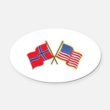 Norwegian American Flags Oval Car Magnet