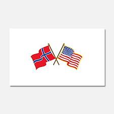 Norwegian American Flags Car Magnet 20 x 12