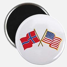 Norwegian American Flags Magnets