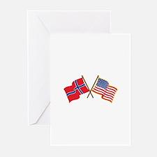 Norwegian American Flags Greeting Cards