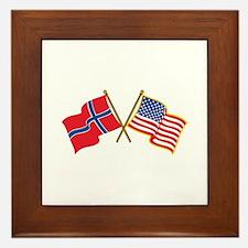 Norwegian American Flags Framed Tile