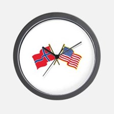 Norwegian American Flags Wall Clock
