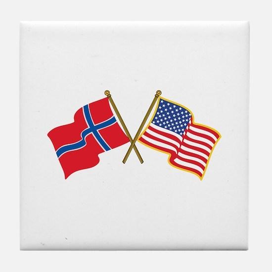 Norwegian American Flags Tile Coaster