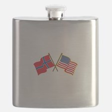 Norwegian American Flags Flask