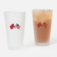 Norwegian American Flags Drinking Glass