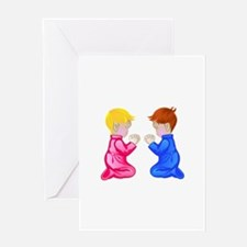 Little Boy & Girl Praying Greeting Cards