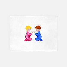 Little Boy & Girl Praying 5'x7'Area Rug