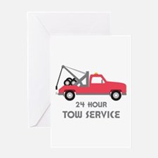 24 Hour Tow Service Greeting Cards