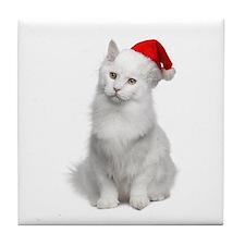 Angora Santa Cat Tile Coaster