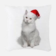 Angora Santa Cat Woven Throw Pillow