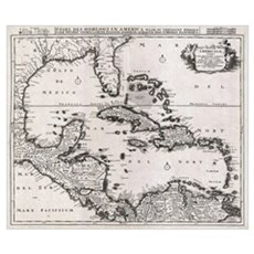 Vintage Map of The Caribbean (1696) Poster