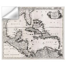 Vintage Map of The Caribbean (1696) Wall Decal