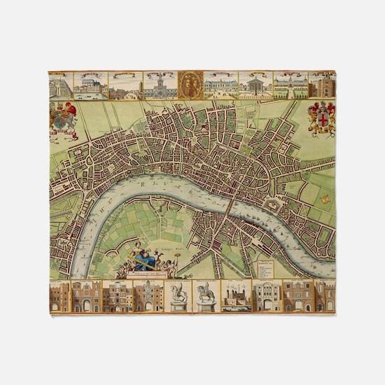 Vintage Map of London (17th Century) Throw Blanket