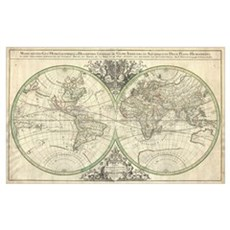 Vintage Map of The World (1691) Poster
