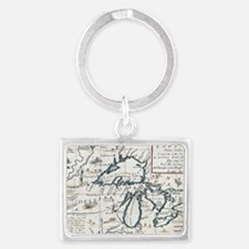Vintage Map of The Great Lakes  Landscape Keychain