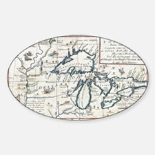 Vintage Map of The Great Lakes (169 Decal