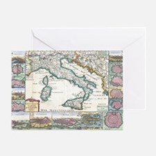 Vintage Map of Italy (1706) Greeting Card
